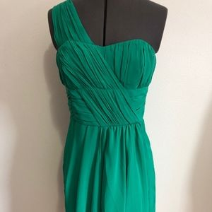 H&M Emerald Green One Shoulder Asymmetrical Dress